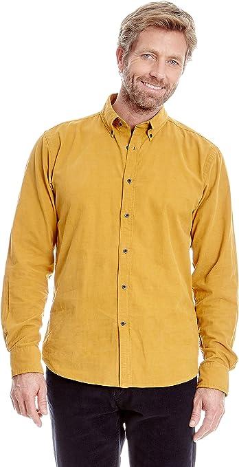 Cortefiel Camisa Pana Mostaza S: Amazon.es: Ropa