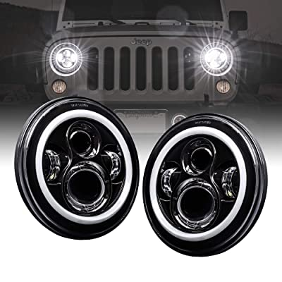 "7"" Round CREE LED Headlights for Jeep Wrangler JK TJ LC CJ Hummer H1 H2 [HALO DRL + Turn Signal] [H4 Plug] [Built-In CANBus] - Accessories for Jeep Wrangler 1987-2020 Head Lights: Automotive"