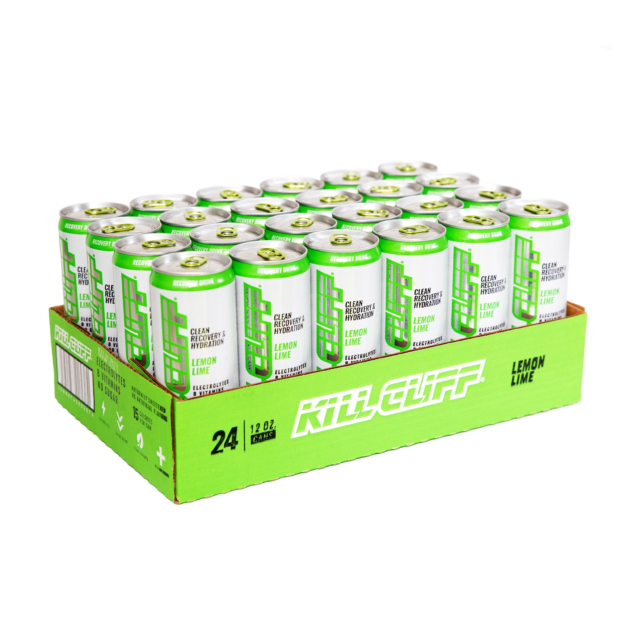 Kill Cliff Electrolyte Recovery Drink, Lemon Lime, 12 Ounce, 24 Count; Low Cal, No Sugar