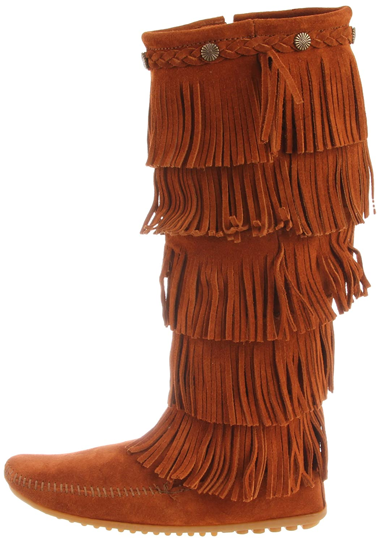Minnetonka Women's Layer Fringe Boot B0027A7U0O 5 B(M) US|Brown