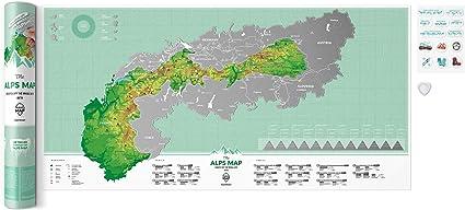 Mapa de los Alpes para rascar la tarjeta de rascar Scrape Off Poster para escalada y entusiastas de los esquís, Alpes, cumbre, alpina, escalada, zonas ...