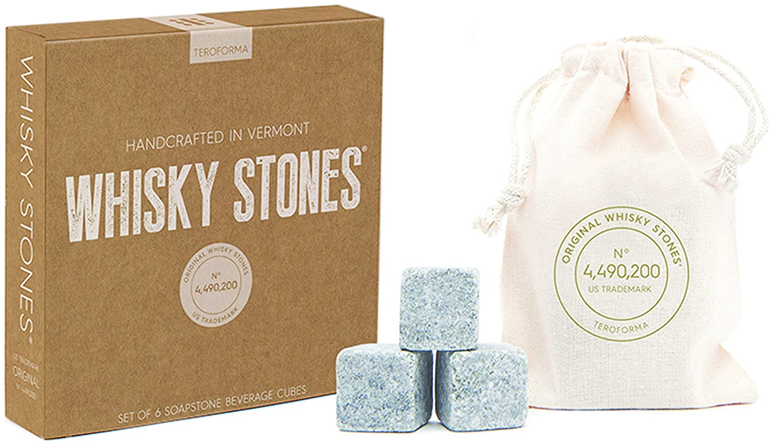 Whisky Stones CRAFT – Original Handcrafted Natural Soapstone Beverage Chilling Cubes (Set of 6) By Teroforma HW6S02/3-PARENT