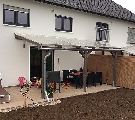 Luxbach GmbH - Cubierta para terraza, 600 x 500 cm / 6 x 5 m, madera de pérgola BSH, planchas alveolares de 16 mm, transparente