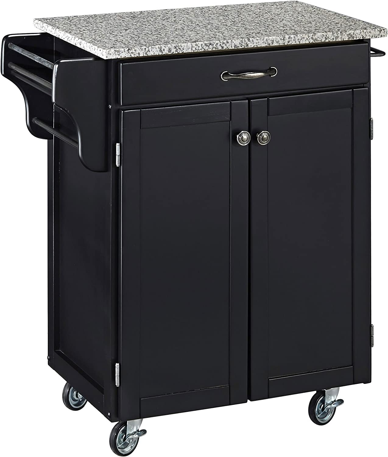 Create-a-Cart Black 2 Door Cabinet Kitchen Cart with Salt and Pepper Granite Top by Home Styles