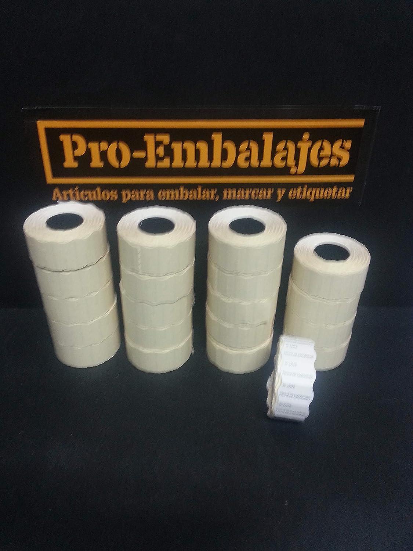 40 rollos x 1.000 unidades 40 rollos de etiquetas para etiquetadora Con texto N/º LOTE//FECHA DE CADUCIDAD Rollos de 1.000 etiquetas Blaca ovalada 40.000 etiquetas Tama/ño 26x16 mm