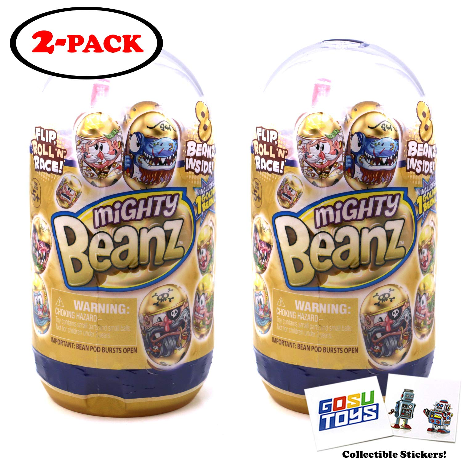 Mighty Beanz Golden Slam Pack (2 Pack) with 2 GosuToys Stickers Gift Bundle - 16 Mighty Beanz Total by MIGHTY BEANZ