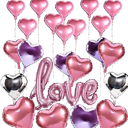 konsait love balloons decorations23pack wedding heart foil balloons balloons pink silver purple