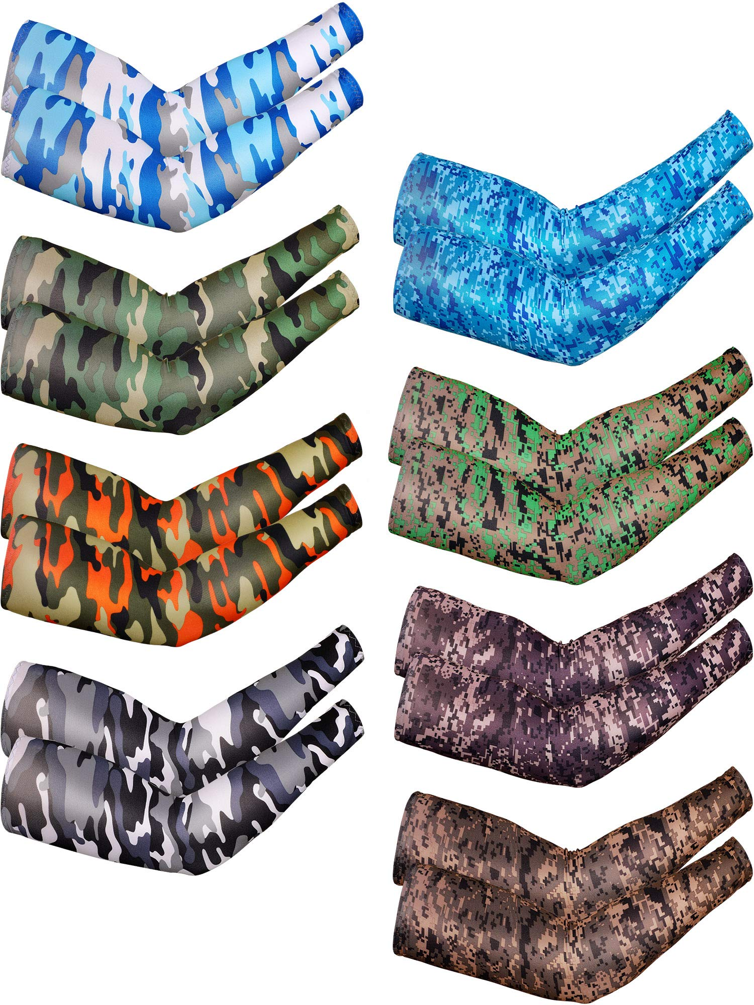 Bememo 8 Pairs UV Protection Arm Sleeves Long Arm Cooling Sleeves Ice Silk Arm Cover Sleeves Unisex Sun Sleeves for Running Cycling Driving Outdoor Sports by Bememo