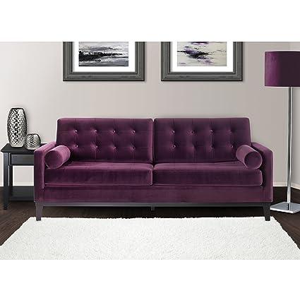 Armen Living LC7253PU Centennial Sofa In Purple Velvet And Black Wood Finish