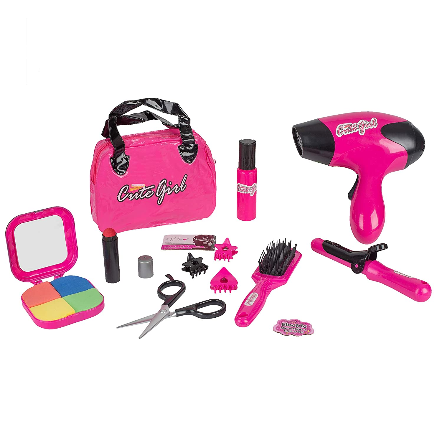 Big Mo's Toys Kids Beauty Salon Set Stylish Girls Beauty Fashion Pretend Play Toy with Cosmetic Bag Hairdryer Curling Iron Blush Pallet with Mirror Lipstick Styling Accessories 12 Piece Set