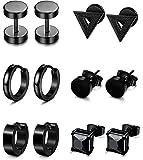 Besteel 6 Pairs Stud Earrings Hoop Earrings for Men Women Stainless Steel Huggie Earrings Set