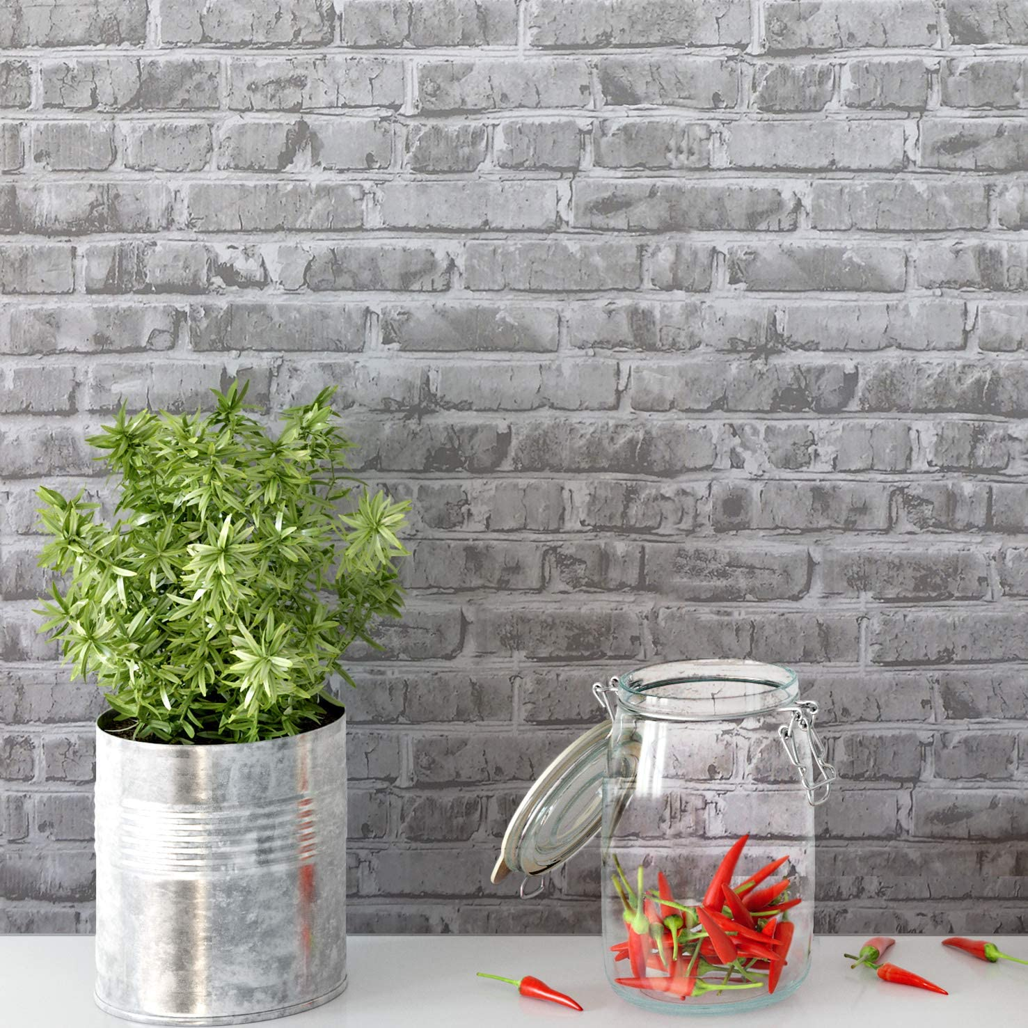 """Timeet Brick Peel and Stick Wallpaper Self-Adhesive 17.7"""" x 78.7"""" Brick Textured Wallpaper Removable Film for Room Decor,Gray"""