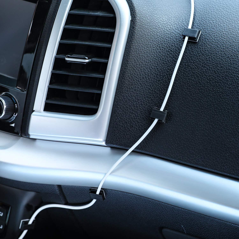 morsetti per cavi elettrici casa Taglia libera Nero clip di gestione cavi per il fissaggio di auto Clip adesive per cavi ufficio 40 pezzi