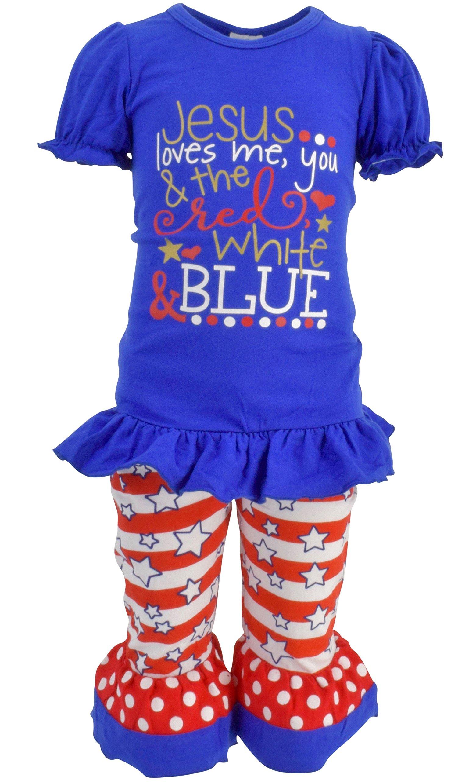 Unique Baby Girls Jesus Love Me 4th of July Boutique Outfit (5T/L, Blue)