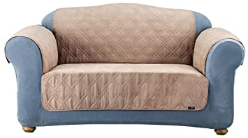 Pleasing Surefit Quilted Loveseat Pet Throw Slipcover Taupe Caraccident5 Cool Chair Designs And Ideas Caraccident5Info