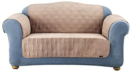 Amazoncom Sure Fit Quilted Pet Throw Loveseat Slipcover Taupe