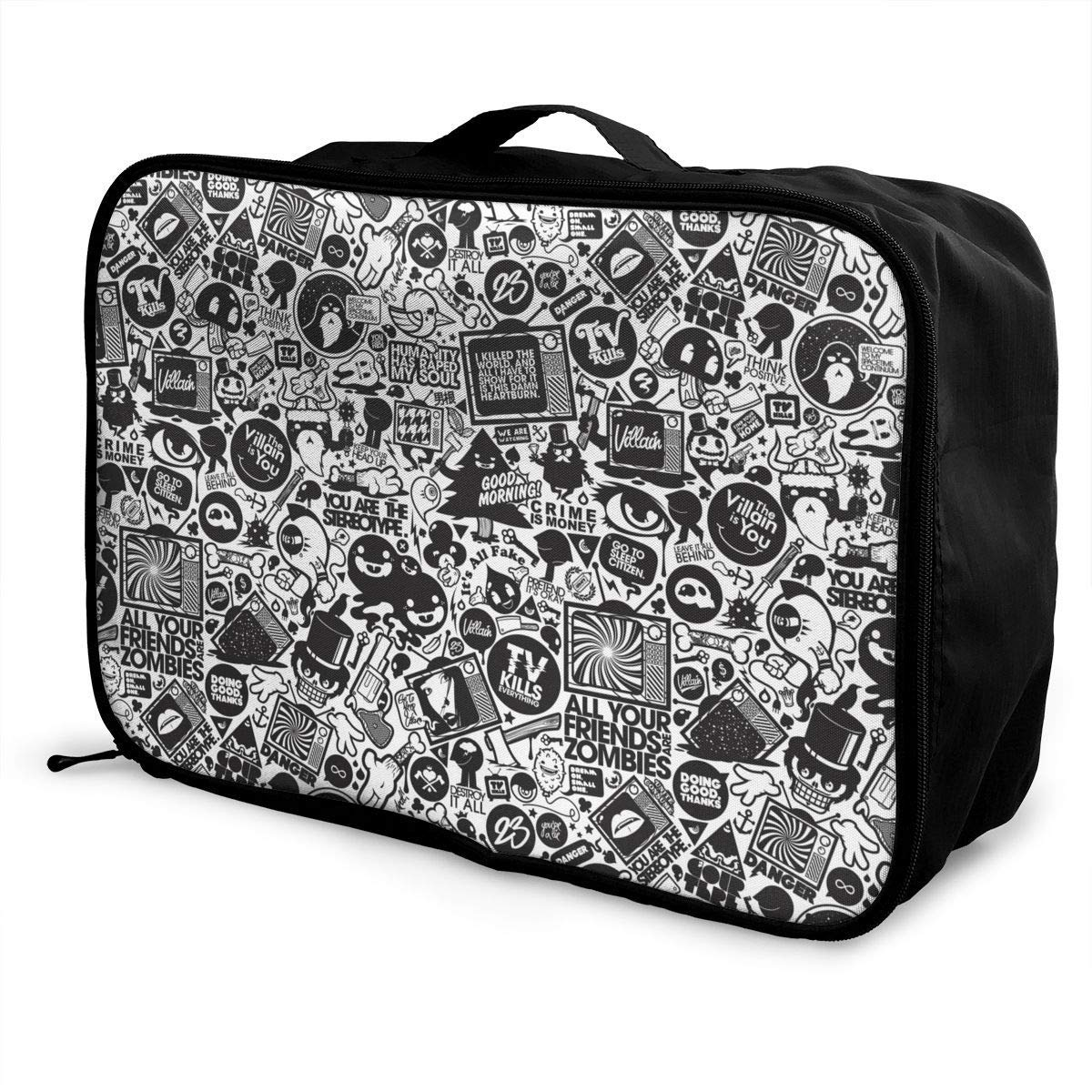 JTRVW Luggage Bags for Travel Travel Lightweight Waterproof Foldable Storage Carry Luggage Duffle Tote Bag Retro Black Trippy Art