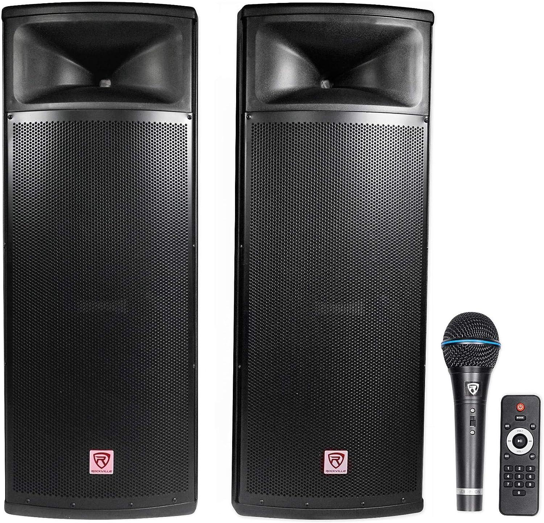 "Rockville Pair Dual 9"" 9w Powered DJ Speaker System w/Bluetooth+Mic,  (RPG9K)"