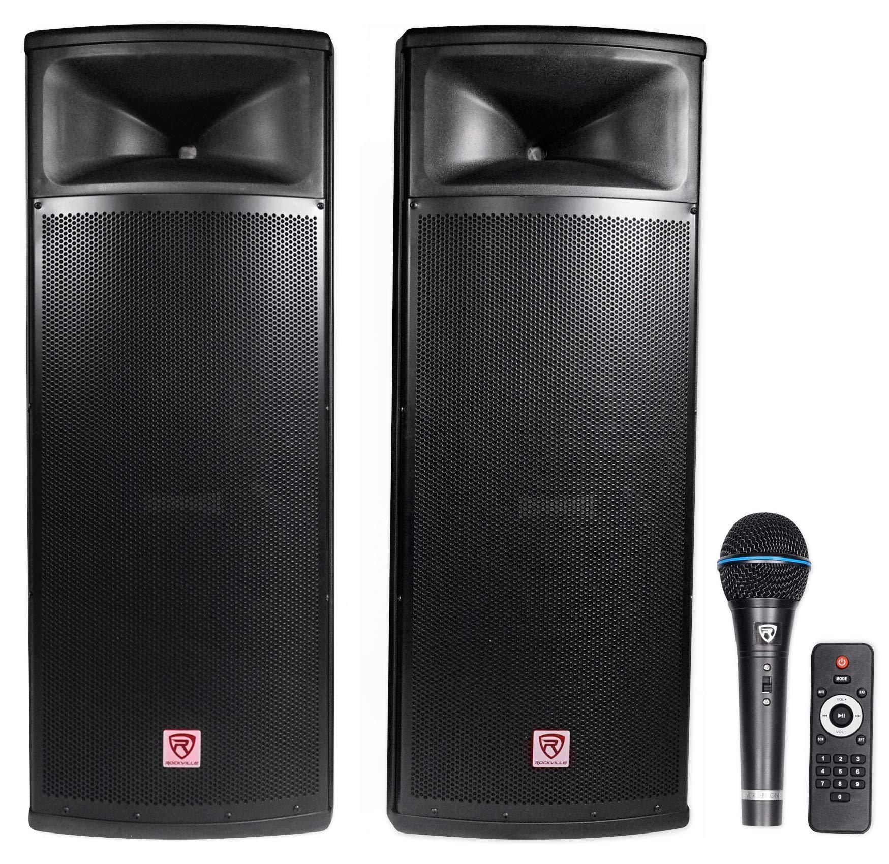 Rockville Pair Dual 15'' 2000w Powered DJ Speaker System w/Bluetooth+Mic, RPG225K)