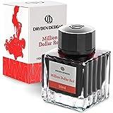 Dryden Designs Fountain Pen Ink Bottle (50 ml) Luxury Edition, (Million Dollar Red) Fountain Pen Bottled Ink. Compact Designe