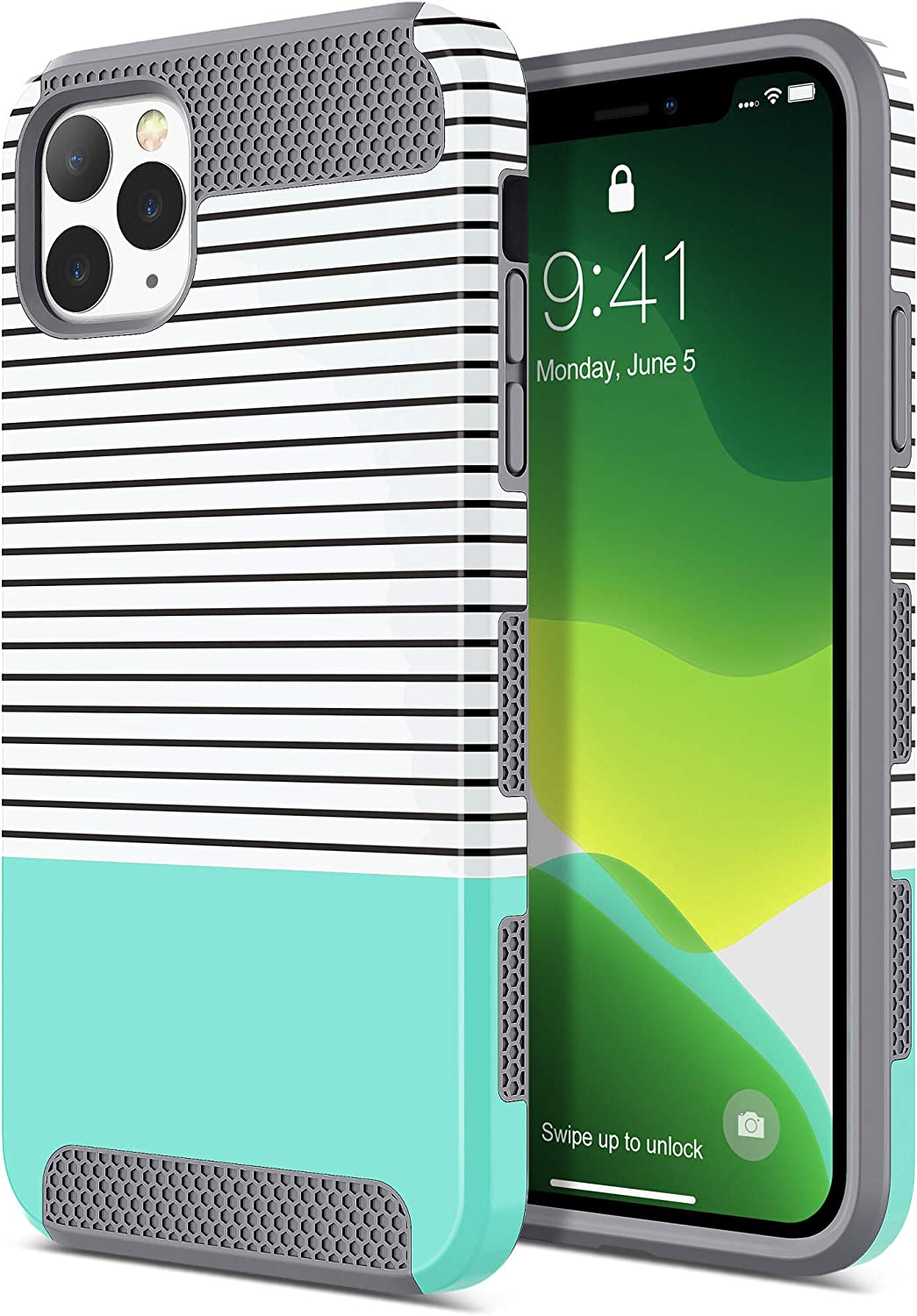 ULAK iPhone 11 Pro Max Case, Stylish Slim Shockproof Protective Hybrid Scratch Resistant Hard Back Shock Absorbent TPU Bumper Case for Apple iPhone 11 Pro Max 6.5 Inch (2019), Green Minimal Stripes