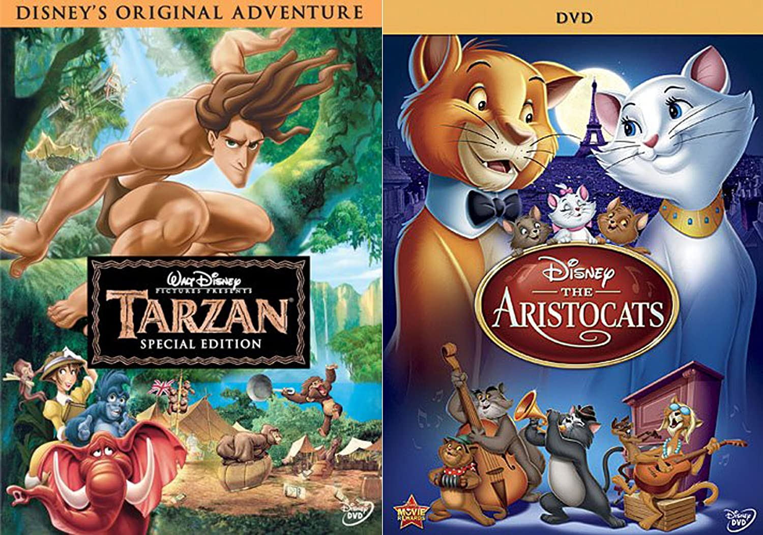 Amazon Com Classic Disney Animated Features Dvd Bundle Tarzan Special Edition The Aristocats 2 Movie Animal Collection Double Feature Movies Tv
