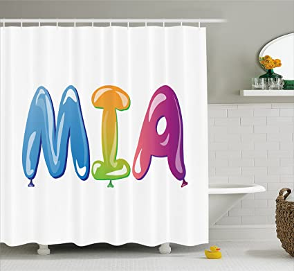 Ambesonne Mia Shower Curtain Female Name Design With Religious Origins Colorful Festive Balloon Letters Pattern