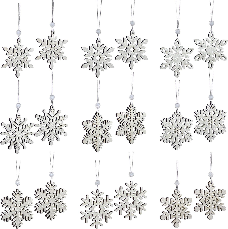 Melrose International Snowflake Classic White 3 x 3 Wood Hanging Christmas Ornaments Box 18