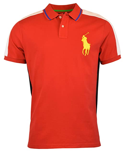 0b05a865 Image Unavailable. Image not available for. Color: Polo Ralph Lauren Men's  Big Pony Custom Slim Fit Mesh Polo Shirt (Large, Red
