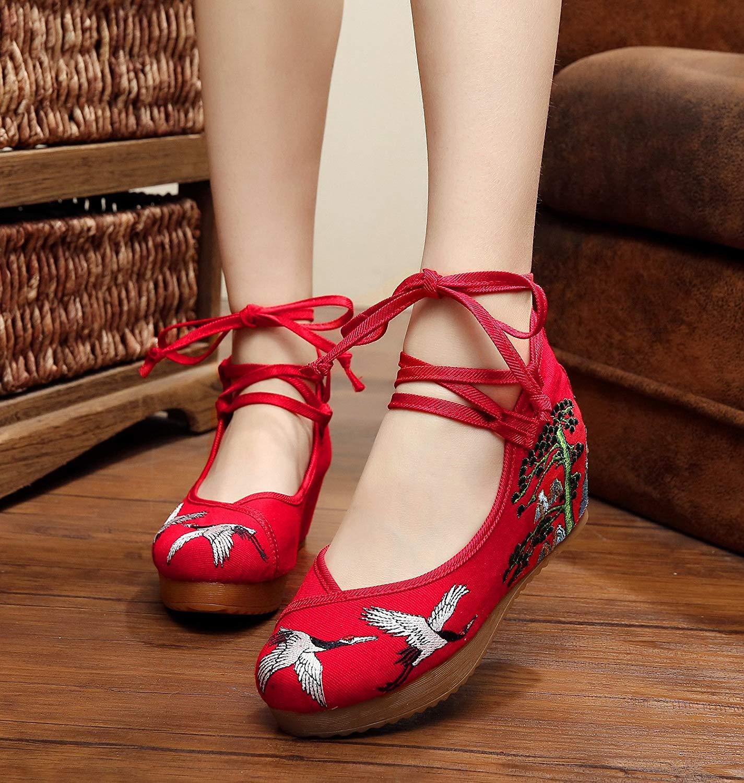 Fuxitoggo Bestickte Schuhe Leinen Sehnensohle Ethno-Stil Erhöhte Damenschuhe Mode bequem lässig rot 39 (Farbe   - Größe   -)