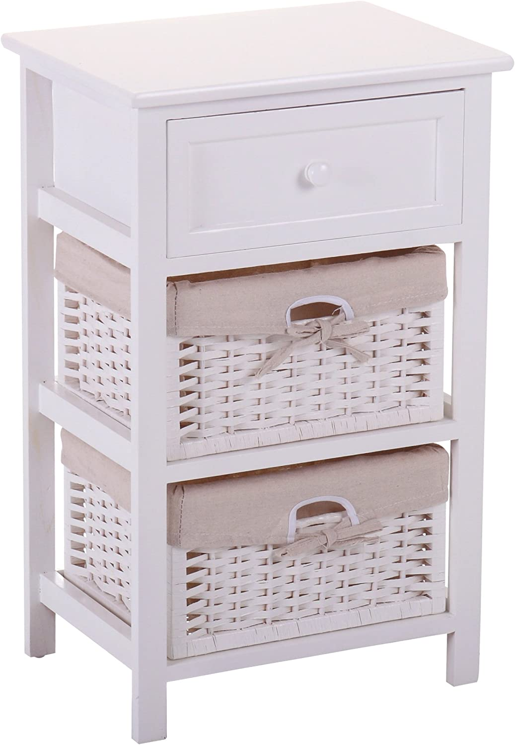 JAXSUNNY Mid-Century Wood Modern Nightstand with 1 Wooden Drawer and 2 Wicker Drawers, Bedside Table in White