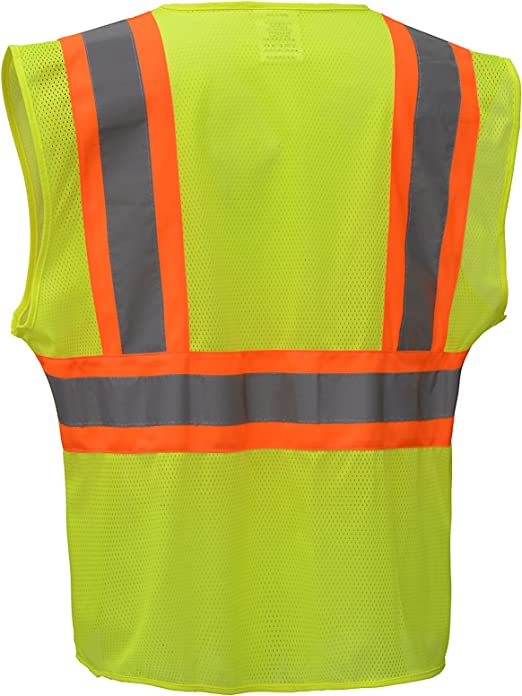 Cj Safety Cjhvsv2003 Ansi Class 2 High Visibility Two Tone Safety Vest Wicking Breathable Mesh 4xl Green Amazon Com