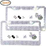 2 Pack Bling License Plate Frame Premium Stainless Steel Metal License Plate Cover Pure Handmade Glitter Rhinestones Car Lice