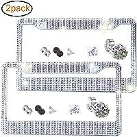 2 Pack Bling License Plate Frame Premium Stainless Steel Metal License Plate Cover Pure Handmade Glitter Rhinestones Car…