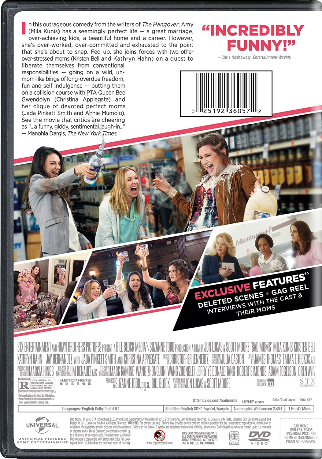 Amazon.com: Bad Moms: Mila Kunis, Kristen Bell, Kathryn Hahn, Jay ...