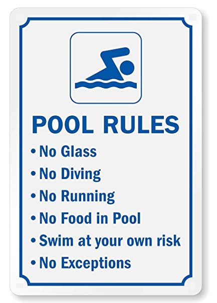 Aluminum Metal 6 Pack Caution Swim at Own Risk Spa Sign Swimming Pool Signs