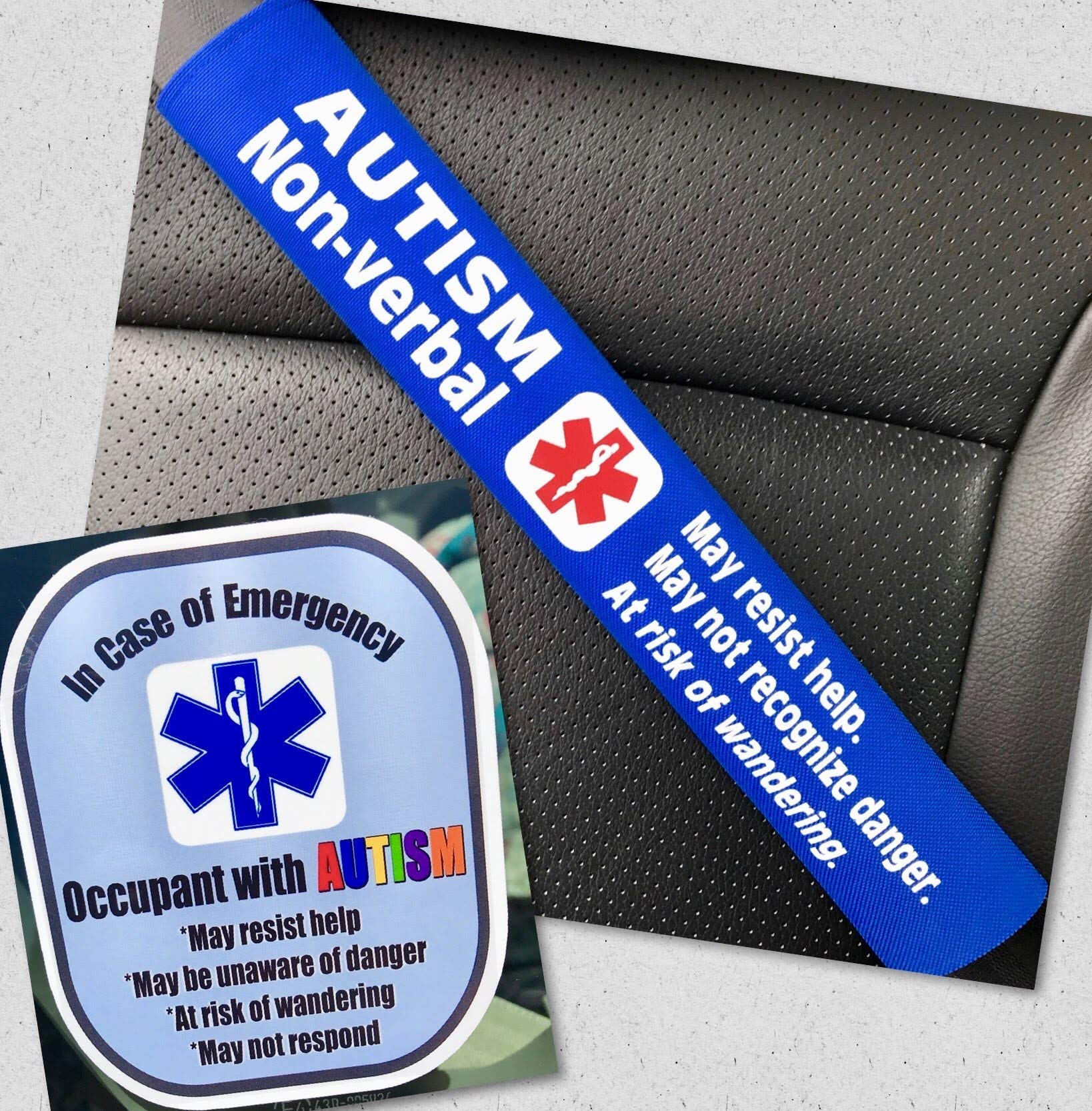 abd871c24d9 Autism Non-Verbal Medical Alert Seat Belt Cover and Window Decal Set ...