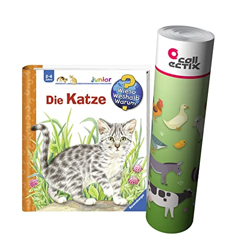 Ravensburger Junior Libro 2-4 AÑOS LA Gato + Infantil Granja Animales Poster