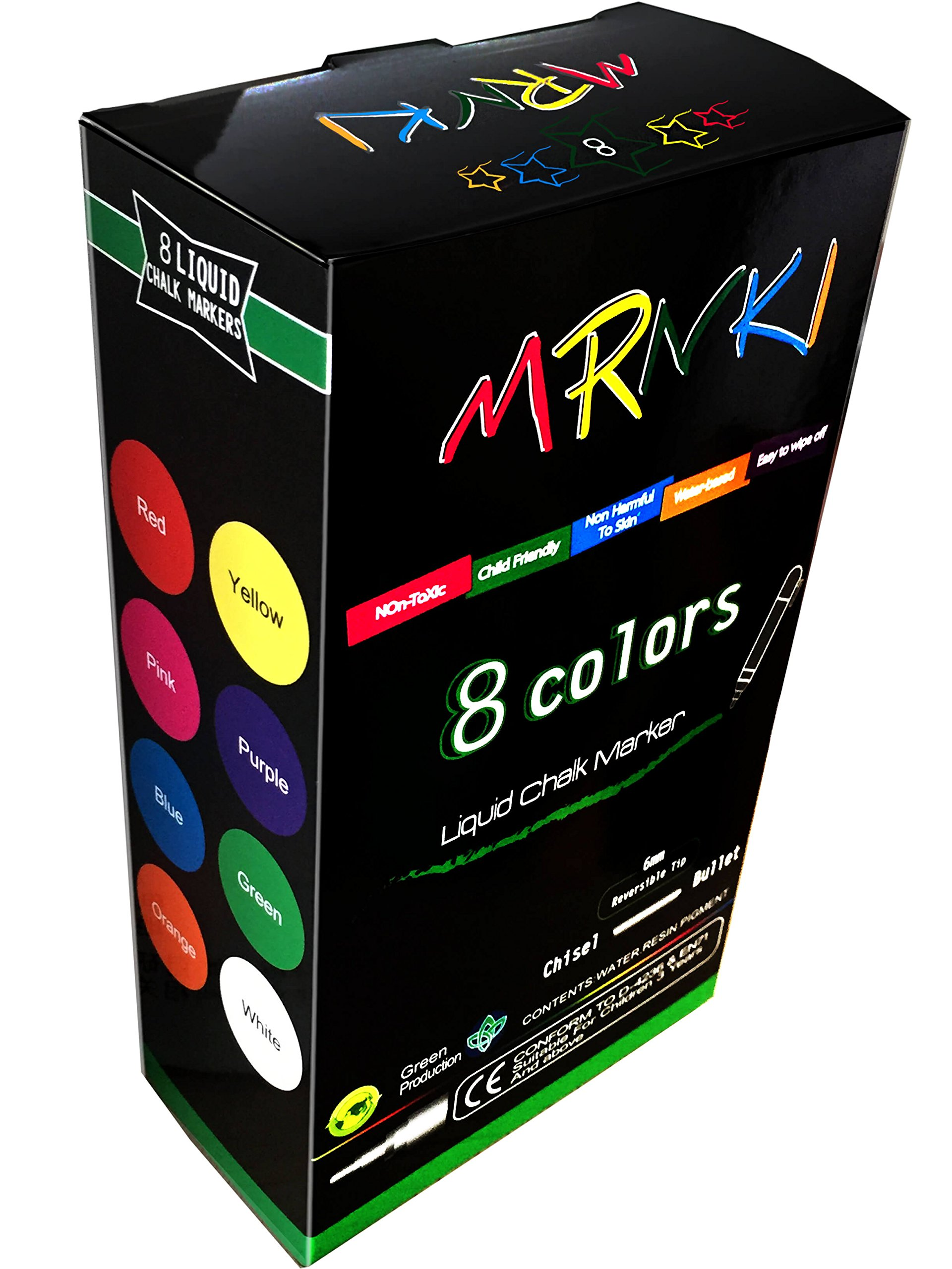 mrnki liquid chalk markers 8 color branch erasable chalk marker for