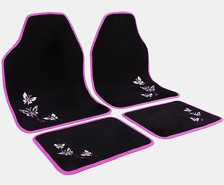 Woltu Universal Auto Fußmatten Teppich Stickerei Butterfly Rosa Schwarz Am7141 Auto