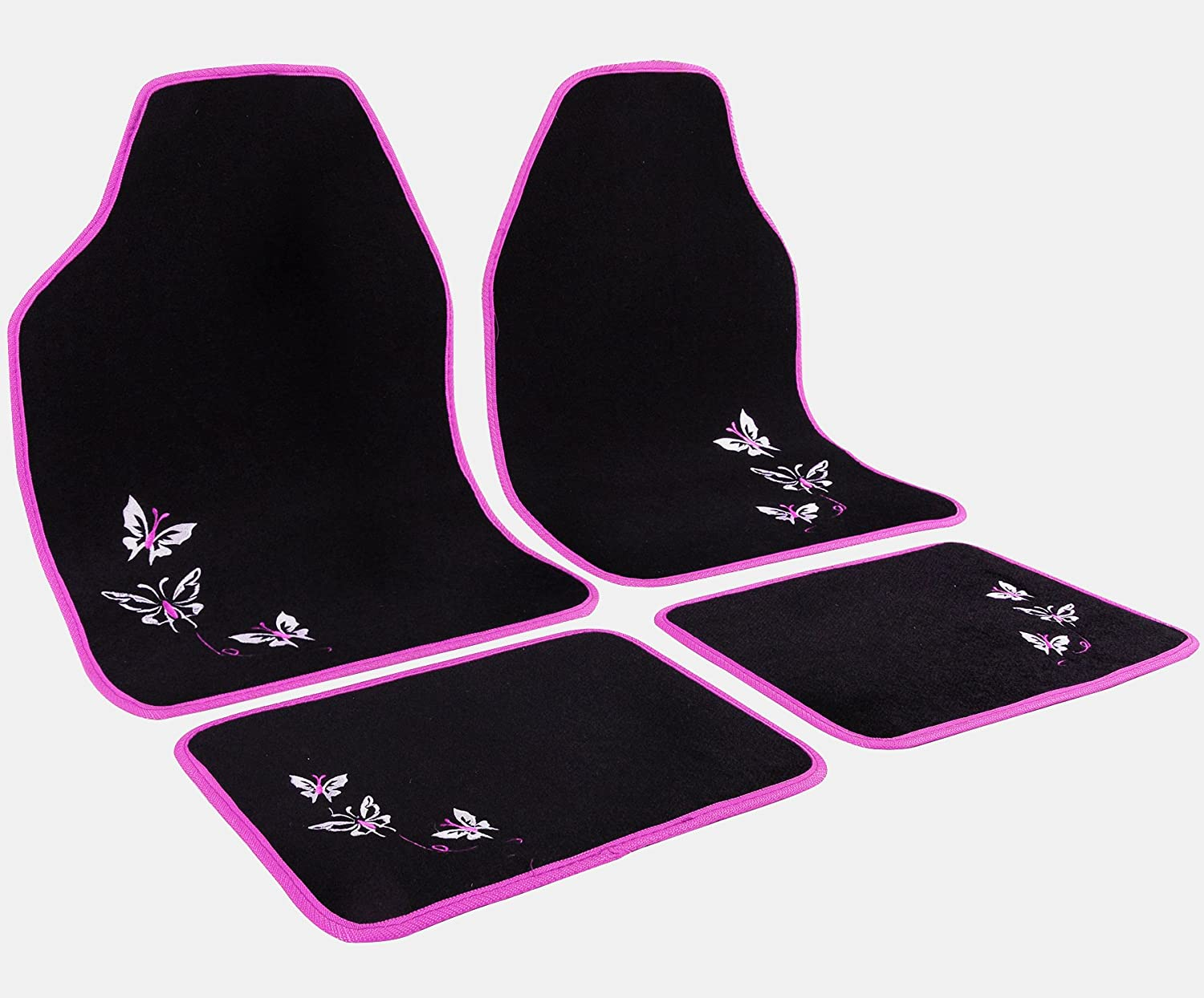WOLTU AM7141 Universal Non-Slip Carpet Car Floor Mat Set of 4 Piece Front & Rear, Black with Pink Embroidery Butterfly