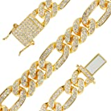 putouzip Men's 12MM 14MM 20MM Chains 18K Gold Plated CZ Fully Iced-Out Miami Cuban Link Necklace