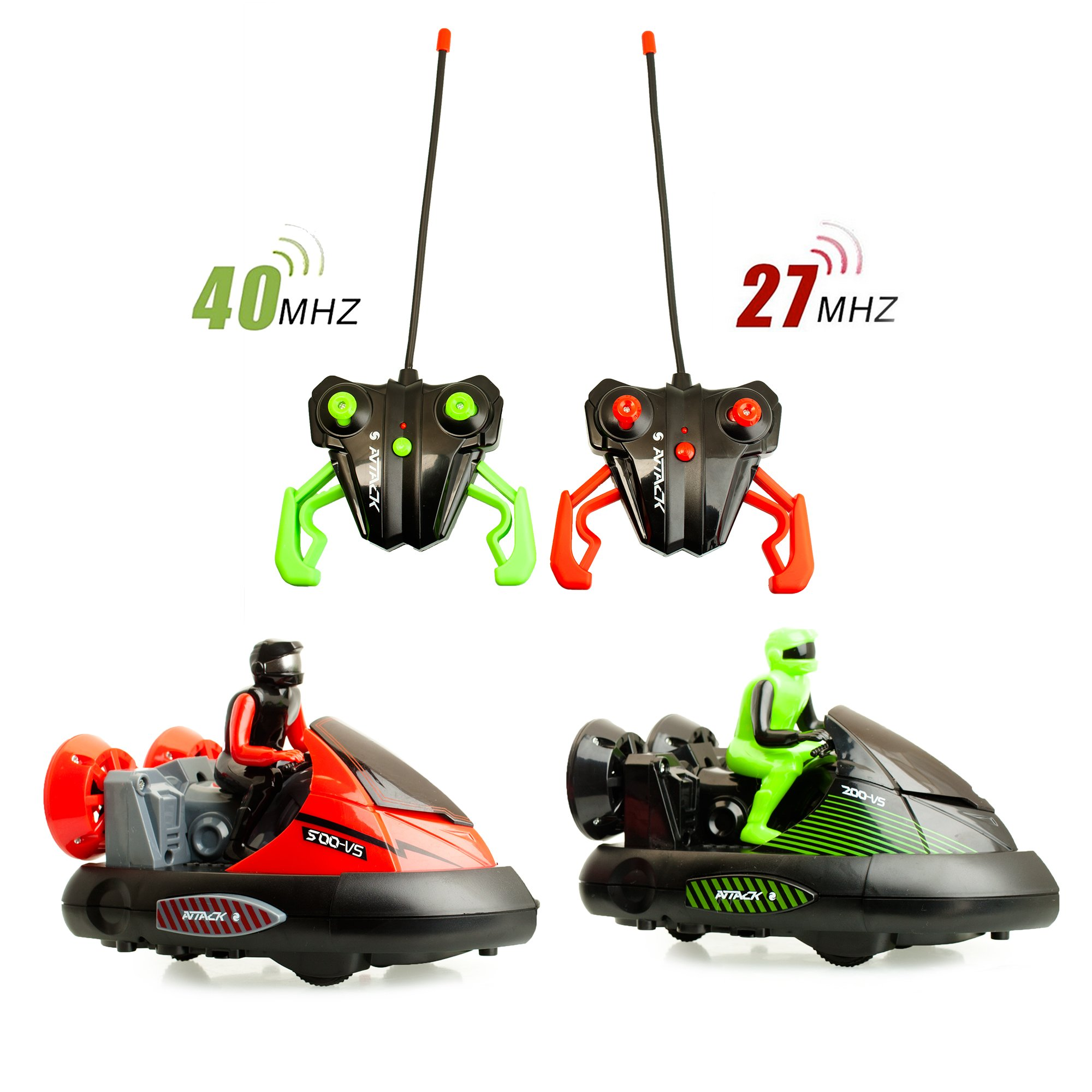 ToyThrill 2 Pack Remote Control Bumper Cars – Two Player Stunt RC Toy with Ejectable Drivers and Crash Sounds - Batteries and Adapter Included – Green and Red by ToyThrill (Image #7)