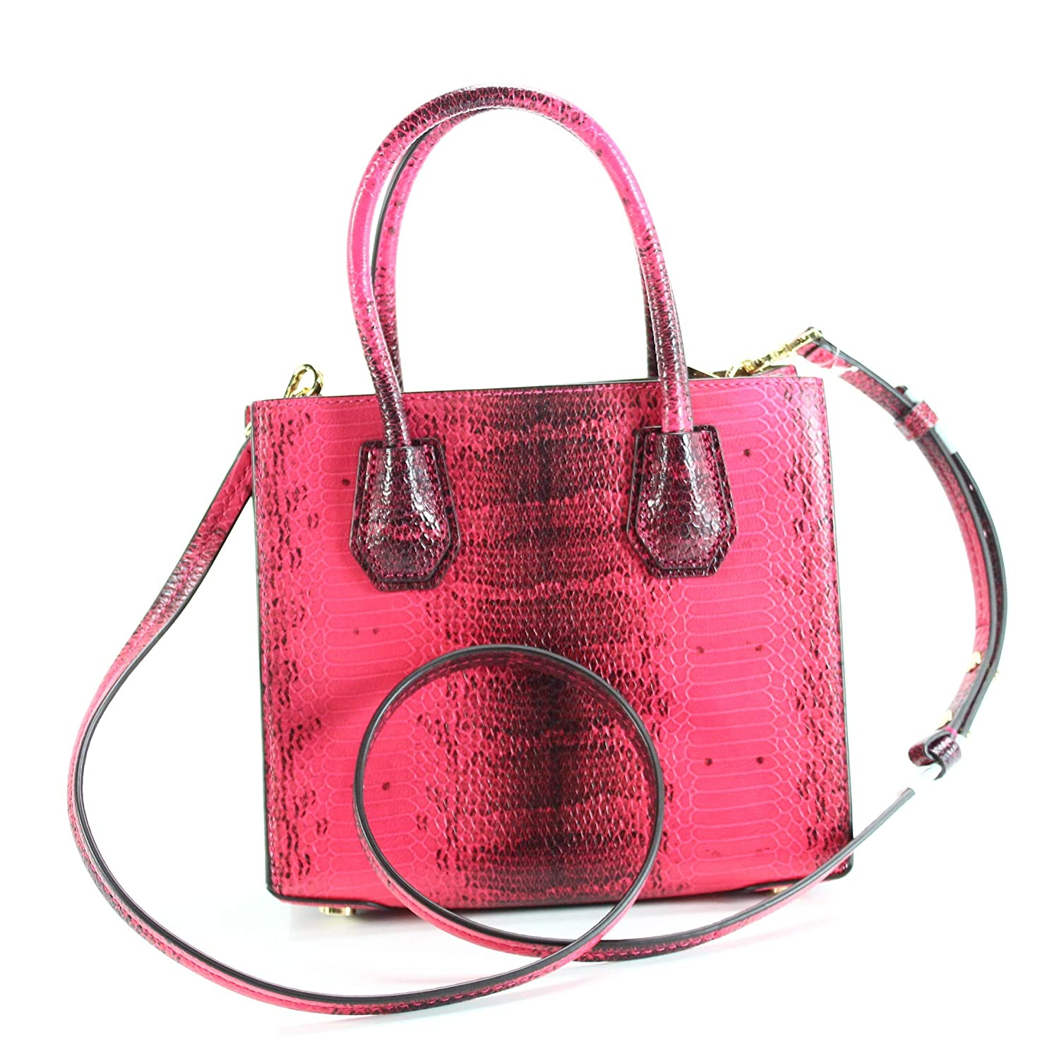 bf051ca5a0e7 Amazon.com  Michael Kors Mercer Embossed Leather Crossbody ULTRA PINK  Shoes