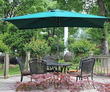 Amazon.com : Abba Patio Rectangular Patio Umbrella Outdoor Market Table  Umbrella With Push Button Tilt And Crank, 6.6 By 9.8 Ft, Dark Green :  Garden U0026 ...