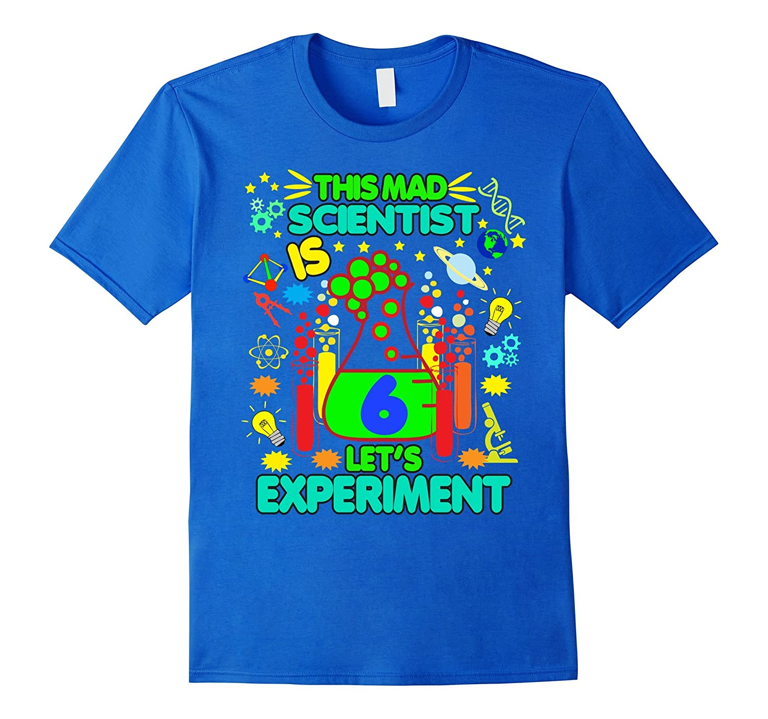 Birthday Shirt Age 6 Boys Girls Science Theme Party-TD