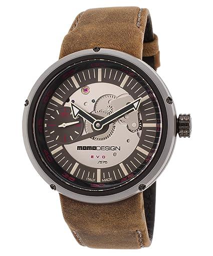Momo Design md1010bs-32 Hombre Ltd Ed Evo mecánico Marrón Piel Auténtica Gris Dial reloj: Amazon.es: Relojes