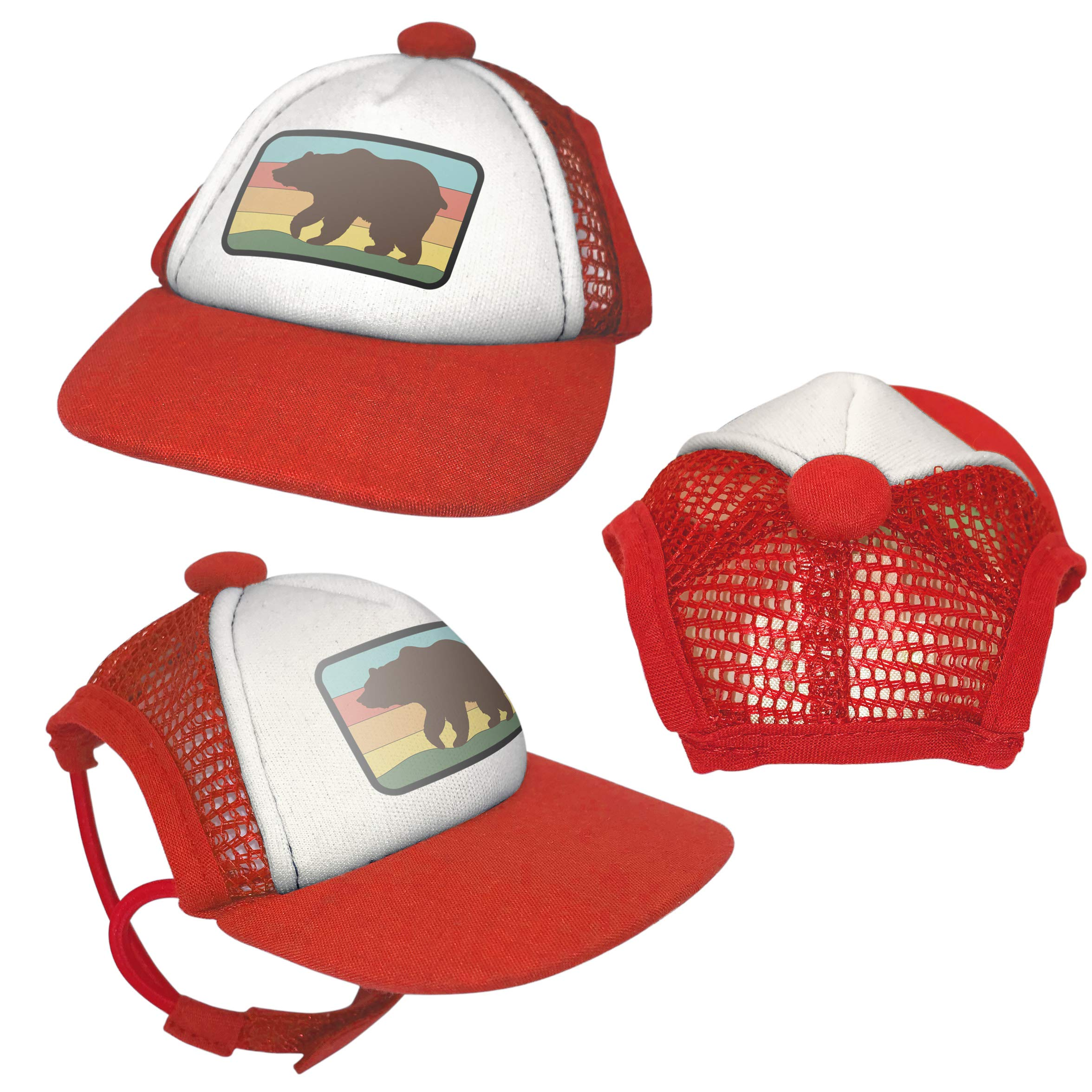 PupLid Trucker Hats for Dogs - Extra Small (Red, Bear) by PupLid
