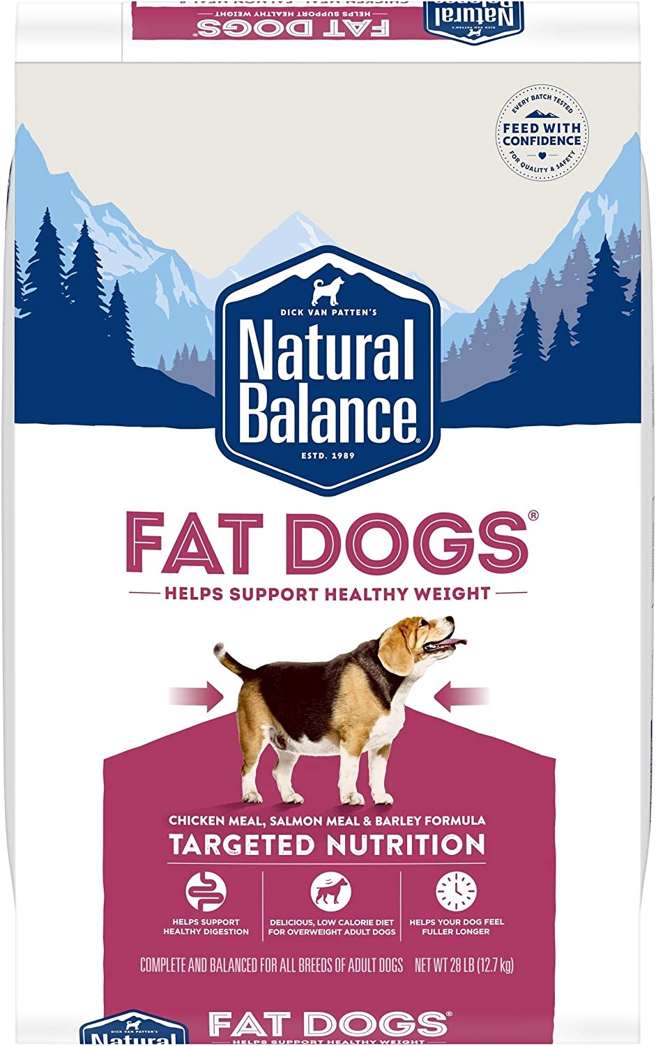Natural Balance Fat Dogs Low Calorie Dry Dog Food for Overweight Adult Dogs (Packaging May Vary)