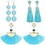 FIBO STEEL 3 Pairs Long Tassel Dangle Earrings for Women Girls Bead thread Drop Earrings